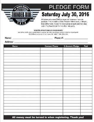 Pledge Form And Information  Th Annual Thunder Ride